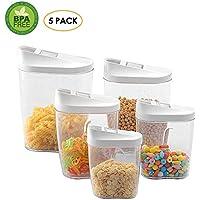 Pawaca - Juego de recipientes de almacenamiento de alimentos secos, 5 piezas, herméticos,