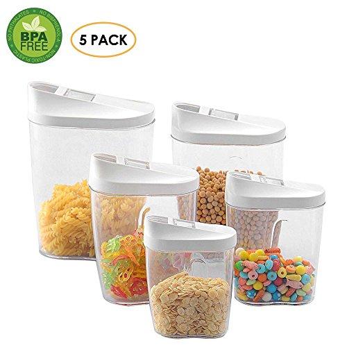 Aolvo Food Breakfast Contenedores de almacenamiento con tapaderas - Fórmula Contenedor Cereales Contenedores Coffee Bean Container 0.3L 0.5L 0.7L 1.0L 1.5L Dispensador de leche en polvo