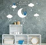 AIYANG Blanc mur autocollants Lune étoiles nuages Stickers Sweet Dreams Stickers muraux Garçon filles Bébé chambre de décoration (Bleu)