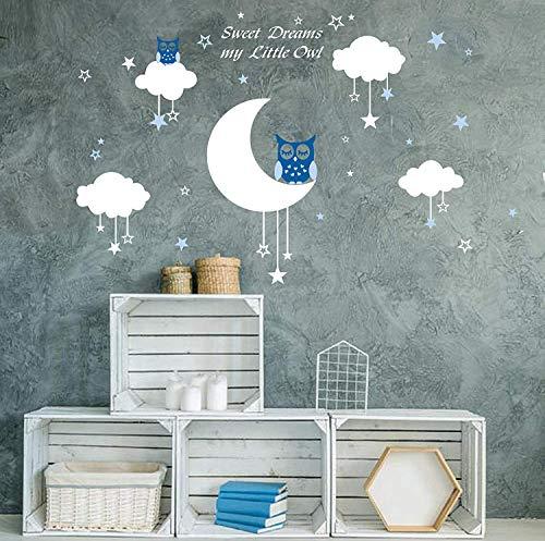 AIYANG Blanc mur autocollants Lune étoiles nuages Stickers Sweet Dreams Stickers muraux Garçon...