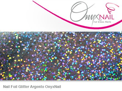 Nail foil glitter argento/glitter silver onyxnail - pellicole decorative per tutti i tipi di unghie