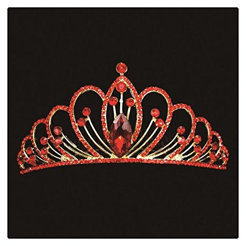PYT Prinzessin Krone Diademe Tiara Strass Stirnband für Hochzeit Party (gold rot (Und Rot Prinzessin Gold Crown)