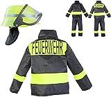 Nerd Clear Feuerwehr-Kostüm Kinder Feuerwehr-Mann Fasching Karneval Kinder-Kostüm Gr. 8 116-122 Waschbar Polyester Schadstoff geprüft