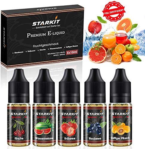 STARKIT® E Liquids 5 X 10ml,Frucht Geschmack für E Zigarette Starter Set SMOK E Shisha,E Liquid Aroma PG70/ VG30 0mg Ohne Nikotin Blaubeere, Erdbeere, Wassermelone, Pfirsich, Kirsche Ejuice(Frucht)