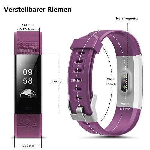 TOOBUR Schrittzähler Fitness Armband Uhr, IP67 Wasserdicht Fitness Tracker Smart Watch mit Herzfrequenz Schlafmonitor und Kalorienzähler, Aktivitätstracker Armbanduhr für Damen Herren - 3
