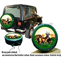 PREMIUM Reserveradabdeckung Wild - Reh und Wildschweine, Reserveradhülle in verschiedenen Farben, Tasche, Überzieher, Schutz, aus hochwertigem Planenmaterial für Auto oder Jeep