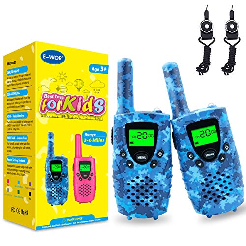Fairwin Talkie Walkies Enfants 8 Canaux Écran LCD et Lampe de Torche, Two Radio Longue Portée 4...