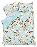 rosa blau Rosen Blumen Baumwollmischung einzelne wendbare 2-tlg Bettwäsche Set Bettdecke Überzug und uni Entenei blau passendes Leintuch