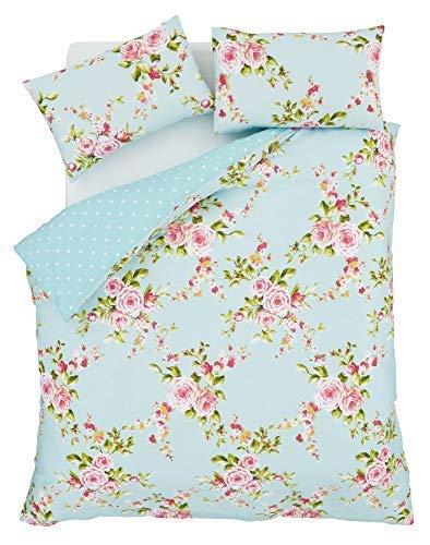 rosa blau Rosen Blumen Baumwollmischung einzelne wendbare 2-tlg Bettwäsche Set Bettdecke Überzug und uni Entenei blau passendes Leintuch -