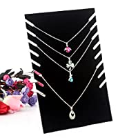 ZHOUBA Black Velvet Necklace Chain Stand Jewellery Holder Shop Display Bust Set Tall