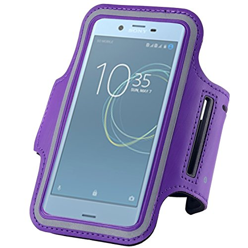 GBOS Sony Xperia L2 Fancy Sports Armband, Lila Gym,Running, Jogging,Walking,Hiking,Workout and Exercise Armband Holder For Sony Xperia L2 with Extra Adjustable-Length Extension Band (Lila Sony Mp3-player)