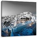 Oia Dorf am Sonnenuntergang Santorin B&W Detail, Format: 60x60 auf Leinwand, XXL riesige Bilder fertig gerahmt mit Keilrahmen, Kunstdruck auf Wandbild mit Rahmen, günstiger als Gemälde oder Ölbild, kein Poster oder Plakat