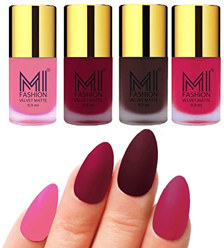 Mi Fashion Velvet Dull Matte Nail Polish, Baby Pink, Mauve, Wine, Grey, 39.6ml (4 Pieces)