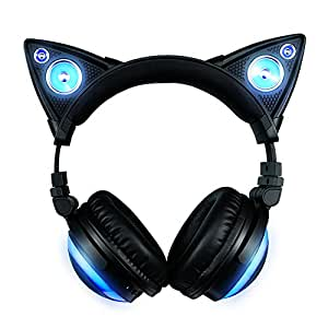 Axent Wear Wireless Bluetooth Cat Ear Headphones with Speakers (8 Color Changing)