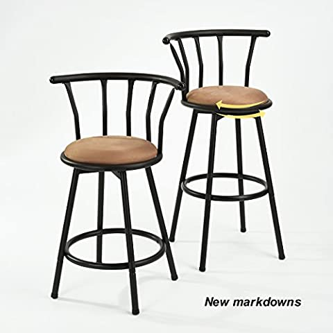 Set of 2 Swivel Kitchen Bar Stools with Arms & Back Rest,EGGREE Windsor Modern Style Black Metal Frame Faux Leather Bar Stool Chair for Kitchen Dining Breakfast, (Pair,21.5