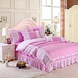 Baumwolle aus reiner Baumwolle eine Einbauküche 4 Stück Princess lace Bed sheet Quilt rosa rosa Doppelbett rock Bettwäsche, Traum folgen, 2,0 m (6,6 Fuß) Bed