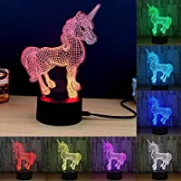 Kung Fu Carrot 3D Unicorn Night Light, 7 Different Colours with Brightness controll. Perfect for Unicorn Lovers