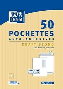 Oxford Correspondance Pochettes auto adhésives Pack de 50 Kraft brun