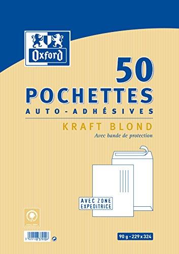 Oxford Pack de 50 pochettes auto-adhésives 229x324mm kraft blond