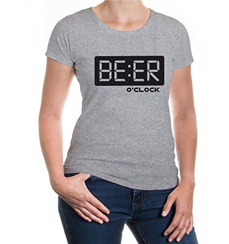 buXsbaum® Girlie T-Shirt Beer o clock Heathergrey-Black