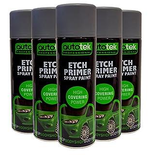 (6 CANS) Autotek Etch Primer Spray for Aluminium Galvanised Steel Stainless GRP Plastic