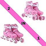 Acecoree Rollschuhe & Inline Skates 2 in 1 Kinder Rollen Inline für Junge Mädchen, 2 Farben Wählbar (Pink, M(34-38))