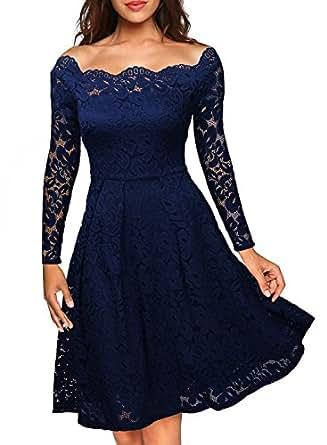 MIUSOL Estivi Vintage Donna Vestito Pizzo Casual Cerimonia Manica Corta Vestiti Blu Small