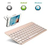 Clavier sans fil Bluetooth, Clavier, kvago Rétroéclairé avec rétroéclairage 7 couleurs ultra fine Flexible portable Mobile lumineux clavier QWERTY pour Apple iOS Système iPad/MacBook/iPhone, iPad Pro 24,6 cm, iPad Air, iPad 2, iPad Mini, etc. (or)