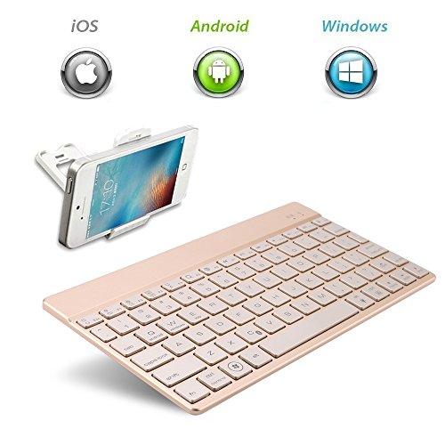 KVAGO - Teclado Bluetooth inalámbrico, retroiluminado con 7colores, ultradelgado, portátil, flexible, teclado QWERTY, color dorado