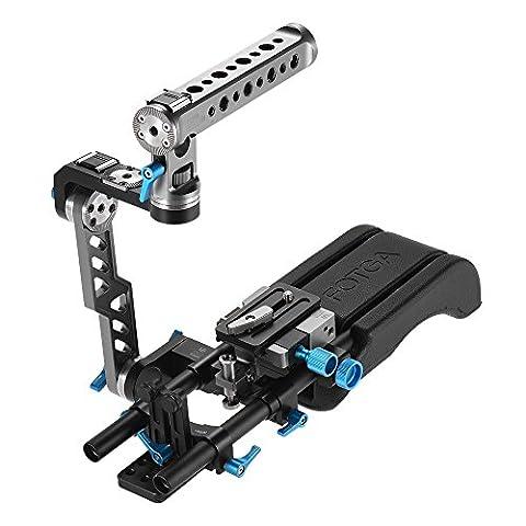 Andoer FOTGA DP500III 2 en 1 Rosette Standard ENG poignée Cage + Rig épaule y compris l'épaulière + poignée + plaque de base tige 15mm Rail Kit stabilisateur vidéo Movie Film Making System pour caméra