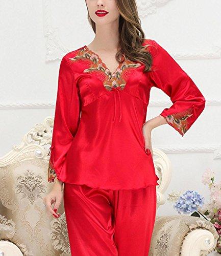 f7e62b5749 ... Aivtalk Damen Pyjama Set Schlafanzug aus Kunstseide lang Hose + V-Ausschnitt  Nachthemd Für Braut