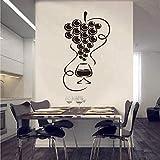Autocollants Raisins Gourmands Et Verre De Vin Vinyle Applique Murale Papier Peint Cuisine Réfrigérateur Stickers Muraux Artiste Décoration 20 * 40 Cm