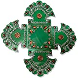 Readymade Elegantly Designed Green Rangoli - Different Leaf Shape Design Decorated With Silver Stones And Beads On Green Square Plastic Base - 5 Pieces Set