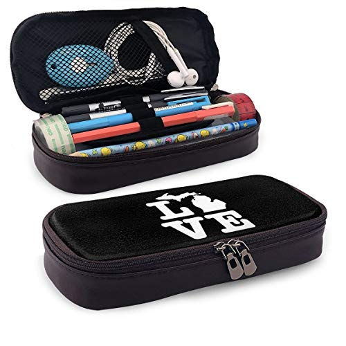 Iop 90p I Love Michigan Karten-Aufbewahrungstasche für Kosmetiktasche, Reisetasche, PU, Schwarz, Einheitsgröße
