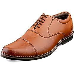 Escaro Men's Tan Formal Oxford Lace Up Dress Shoes (ES1039KB_TAN_8)