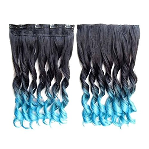 Longue perruque - SODIAL(R) Extensions de cheveux colores 130g 60cm resistant a la chaleur fantastique synthetique longs clip dans avec 5 clips piece de cheveux (boucle, Noir + Bleu clair)