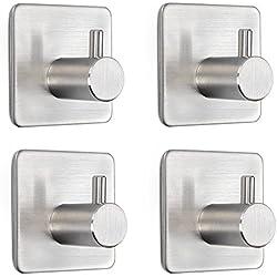 Moliker ganchos adhesivos fuertes ganchos de acero inoxidable ganchos durabel impermeable ganchos pegajosos sin costura para la pared de la cocina de baño, carga máxima (Pack of 4)