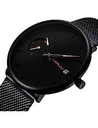 4fa0c93c9c4c Relojes Para Hombre Minimalista Cuarzo Analógico Con Malla De Fecha Correa  De Acero Inoxidable Reloj Impermeable