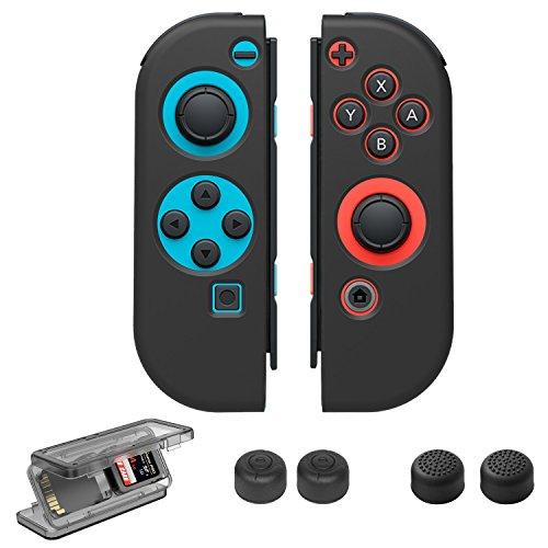 Nintendo Switch Zubehör Set, Taken Joy-Con Gel Protector Tasche Thumb Grip Caps Game Cards Case für Nintendo Switch,Schwarz