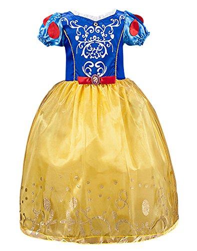 FStory&Winyee Mädchen Prinzessin Snowwhite Kleid Blau Gelb Kinder Cosplay Schneewittchen Kostüm Karneval Party Verkleidung Halloween Fest