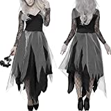 RETYLY Costume da Donna Halloween Cimitero Abito da Sposa cadavere Donna Pizzo Nero Cosplay Fancy Dress Party L