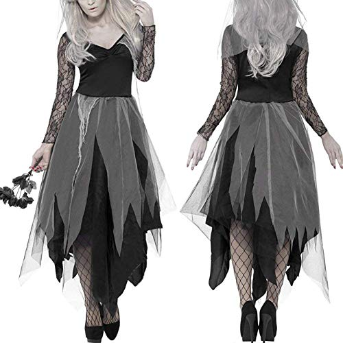 Braut Friedhof Kostüm - CUHAWUDBA Halloween Frauen Kostuem Friedhof Braut Corpse Kleid Damen Black Lace Cosplay Fancy Dress Party XL