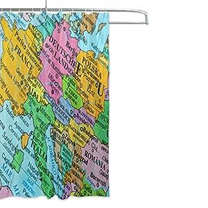 ALAZA Mapa de Europa Cortina de Ducha DE 66 x 72 Pulgadas, Moho de poliéster Resistente a Prueba de Agua y Decoración Cuarto de Baño Cortina