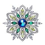 Gnzoe Schmuck Glänzend-Elemente Damen Broschen Blumen Form Broschennadel Brosche Pin Brautschmuck mit Blau Zirkonia