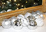 SET 15er Christbaumkugeln Weihnachtsbaumkugeln GRAU MIX Dekor Kugel bruchfest Weihnachten 6 cm Ø