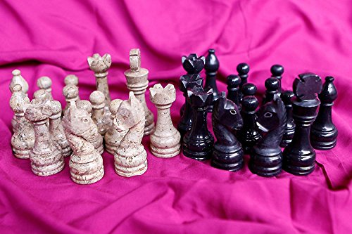 RADICALn Black and Light Brown Marble Big Chess Figures - Complete 32 figures - Suitable for 16 to 20 inches Chess Board - RADICALn nero e marmo marrone chiaro Big Chess figure - Completa 32 figure - Adatto per 16 a 20 pollici scacchiera