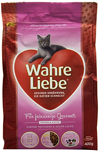 Wahre Liebe Katzenfutter Sensible Katze, 1er Pack (1 x 400 g Packung) (Yucca Pulver)
