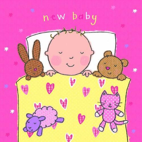 Twizler Pink New Baby Girl card con orsetto, coniglio e ritagliare segnalibro-Biglietto di (Congratulazioni Nuovo Bambino)