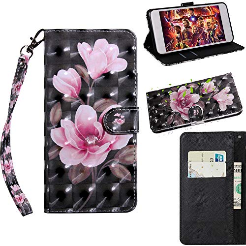 Nadakin Sony Xperia XA1/Z6 Leder Hülle Handyhülle Wallet Flip Case Standfunktion Kredit Kartenfächer Magnetverschluss PU Lederhülle for Sony Xperia XA1/Z6 (Pinke Blume)