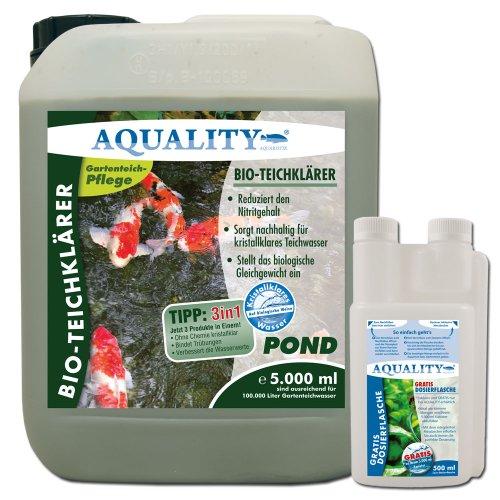 AQUALITY BIO-TeichKlärer für Ihren Gartenteich 5.000 ml (GRATIS Lieferung innerhalb Deutschlands - Sorgt deutlich besser und nachhaltig für kristallklares Teichwasser und reduziert den Nitritgehalt im Gartenteich - Entfernt Trübungen + GRATIS Klarwasser Filtervlies)
